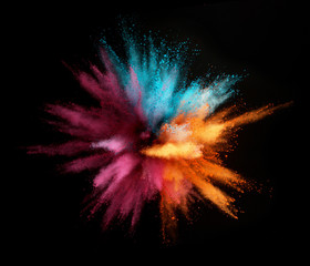 Stores à enrouleur Forme Explosion of colored powder isolated on black background