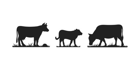Cows in different poses vector set. Silhouettes of grass. Cow grazing on meadow.
