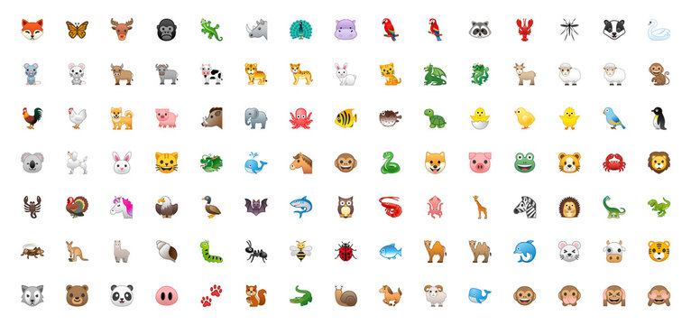 All Animals Vector Icons. Emoji Set. Colorful Wildlife Symbols. Animal Face, Head Emojis, Emoticons Set, Collection – Vector