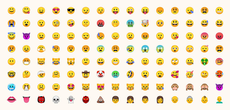 All emojis vector set. All face emoticons, smileys vector icons illustrations collection