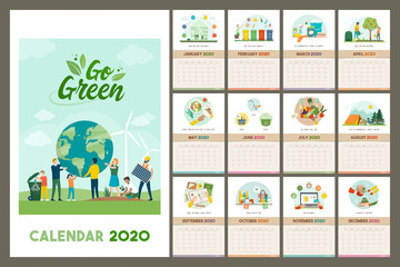 Go green wall calendar 2020 with eco friendly tips and advices for a sustainable zero waste living, grid planner with recycled paper texture