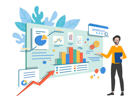 Investment and virtual finance. Communication and contemporary marketing. Business analysis concept. Infographic for web banner, hero images. Flat isometric vector illustration.