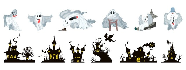 A selection of Halloween. ghosts and castles