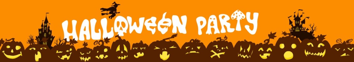 Halloween party poster. castles and pumpkins