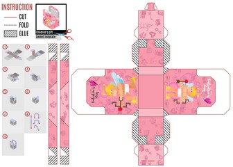 pink cupid box template in flat style