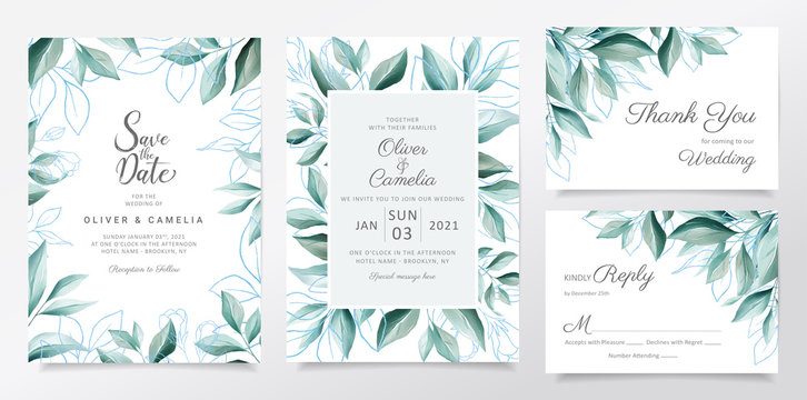 Blue wedding invitation card template set with watercolor leaves border. Elegant botanic decoration background of blue floral for invites, greeting, save the date vector