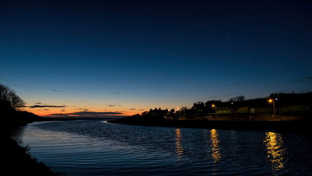 Sunrise at Brora with Venus shining in the dawn sky