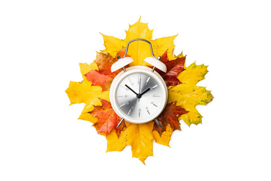 Alarm clock on yellow and red foliage isolated on white background