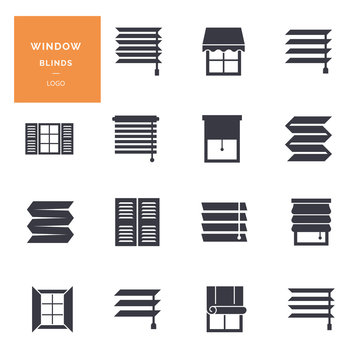 Vector isolated icons set of window blinds vector glyph icons. Logotype collection.