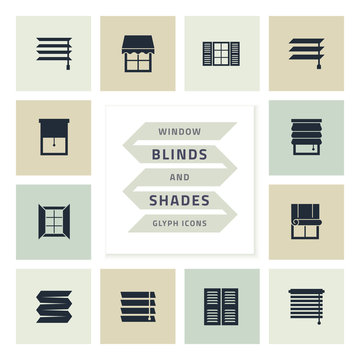 Vector glyph icons set window blinds and shades