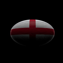 England flag rugby ball. Dark background. 3D Rendering