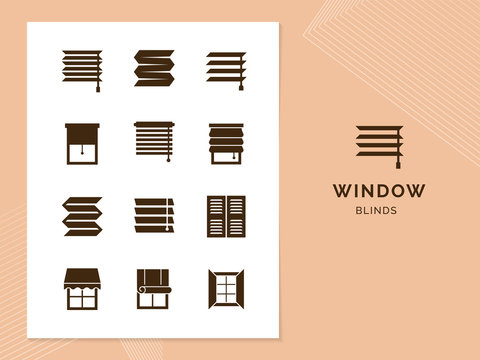 Vector isolated icons set of window blinds vector glyph icons.