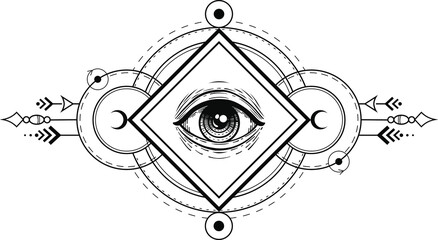 eye of providence vector hand drawn illustration tattoo sketch style isolated on white