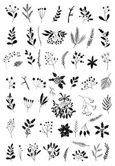 Christmas design elements with briar, berries, fir branches, mistletoe, snowflakes, cones, leaves. Hand Drawn Christmas Holiday Florals. Perfect for invitations, greeting cards, posters, prints.