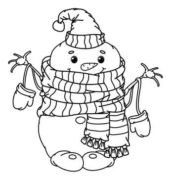 Vector   happy snowman cartoon, black silhouette for coloring.