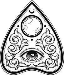 ouija planchette with eye of providence vector hand drawn illustration tattoo sketch style isolated on white