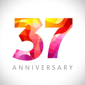 37 th anniversary numbers. 37 years old yellow coloured logotype. Age congrats, congratulation idea. Isolated abstract graphic design template. Creative 3, 7 digits. Up to 37% percent off discount.