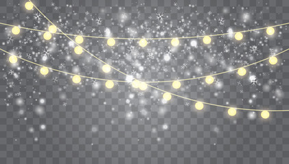 Falling white snow with glowing garland.