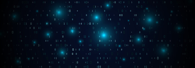Abstract technology binary code background.Digital binary data and secure data concept.Matrix background with number 0 and 1. Wall mural