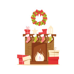 Classic brick fireplace with Christmas socks, gifts and a wreath on a neutral background. New year vector illustration in flat style for web banner, greeting card or tags