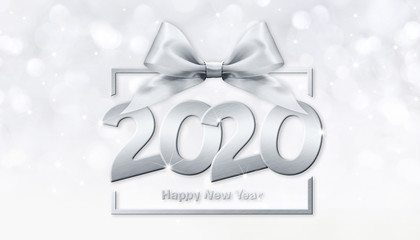 Fotomurales - 2020 happy new year number text in box frame with silver ribbon bow isolated on white  background