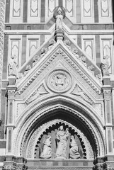 Wall Mural - Florence cathedral. Black and white vintage style.