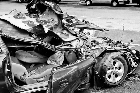 Car crash. Black and white vintage style.