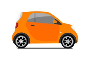 Garden Poster Cartoon cars Car sharing logo, vector city micro orange car. Eco vehicle cartoon icon isolated on white background. Cartoon vector illustration with urban ecological transport. Cute vector smart car illustration.
