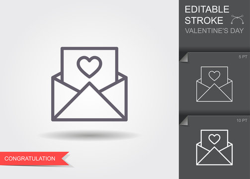 Envelope with heart. Line icon with editable stroke with shadow