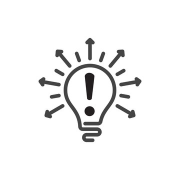 Light Bulb line icon vector with exclamation mark, isolated on white background. Idea attention sign, solution, thinking concept. Lighting Electric arrows lamp. Electricity, shine.