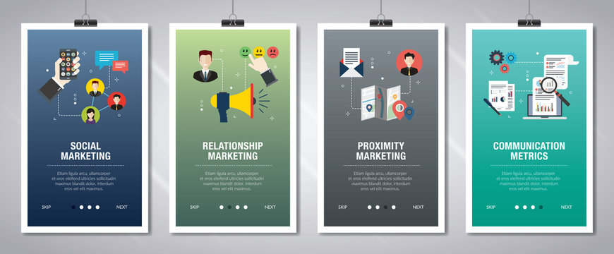Internet banner set with marketing, communication, metrics and relationship icons.