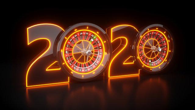 2020 Year Casino - 3D Illustration