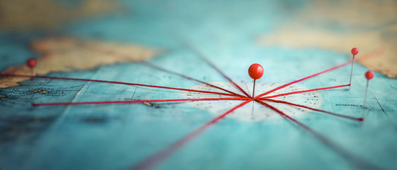 Find your way. Location marking with a pin on a map with routes. Adventure, discovery, navigation, communication, logistics, geography, transport and travel theme concept background. Fotomurales