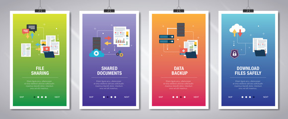 Internet banner set of technology and computers icons.