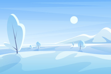 Blue winter landscape flat vector illustration. Scenic view with snowy field and mountains under sky. Sunny cold day. Wintertime outdoor scene. Seasonal nature background with snow