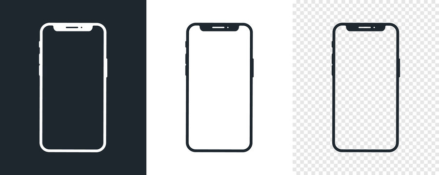 Set of black Smartphone icons. Simple Mobile Phone icon template. White and black. Vector illustration