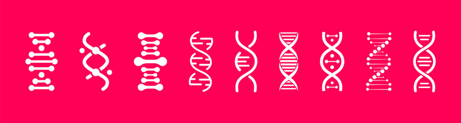 Set of DNA icons. Life gene model bio code genetics molecule medical symbols. Structure molecule, chromosome icon. Pictogram of Dna vector, genetic sign, elements and icons collection.