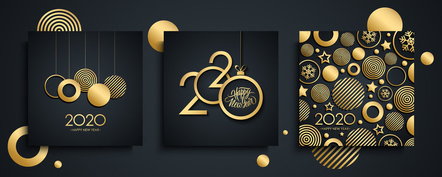 2020 Happy New Year luxury greeting cards set. New Year holiday invitations templates collection with hand drawn lettering and gold christmas balls. Vector illustration.