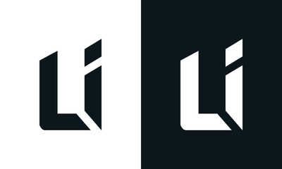 Fototapeta Modern abstract letter LI logo. This logo icon incorporate with two abstract shape in the creative process. obraz