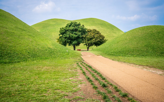 Tumuli park or Daereungwon tomb complex scenic view with several tumulus and green trees in middle Gyeongju South Korea