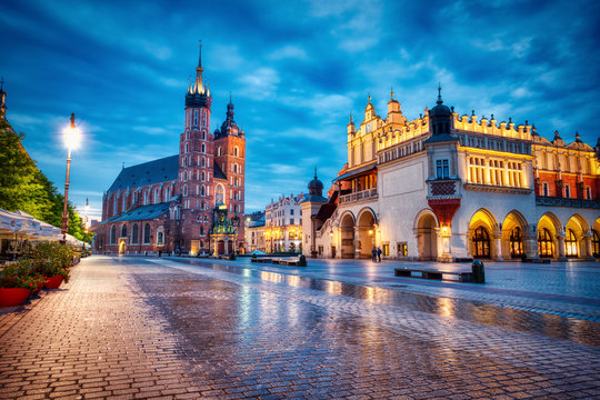 St. Mary's Basilica on the Krakow Main Square at Dusk, Krakow