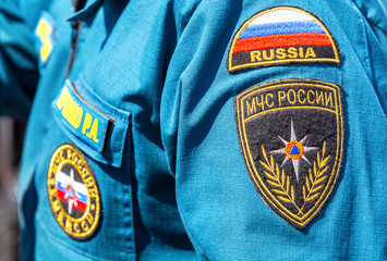 Chevron on the sleeve uniforms of the russian emercom officer