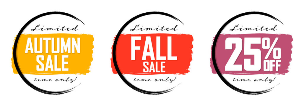 Autumn Sale, 25% off, Fall discount tag, banners design template, Thanksgiving Day, grunge brush, vector