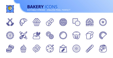 Simple set of outline icons about bakery products