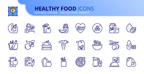 Simple set of outline icons about healthy food