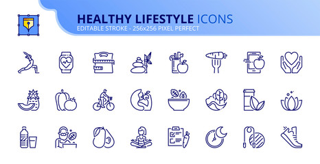 Simple set of outline icons about healthy lifestyle Fototapete