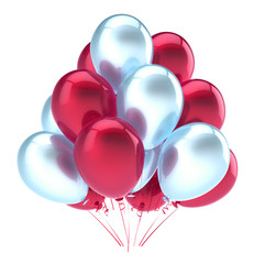 Balloons party happy birthday decoration red white glossy