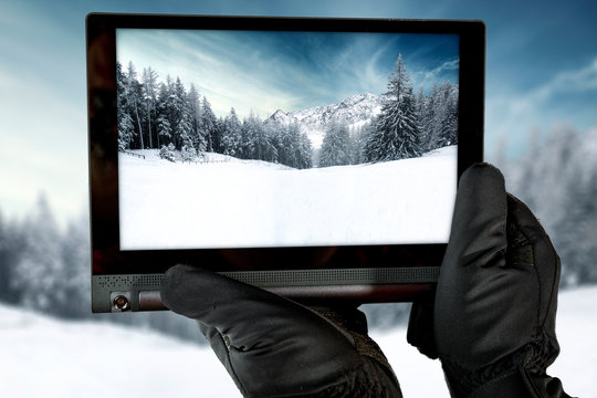 Man hands with tablet and free space for your decoration.