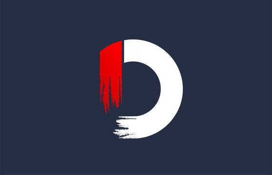 D white red blue alphabet letter with grunge brush ending for company logo icon design