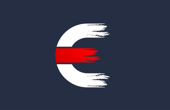 E white red blue alphabet letter with grunge brush ending for company logo icon design